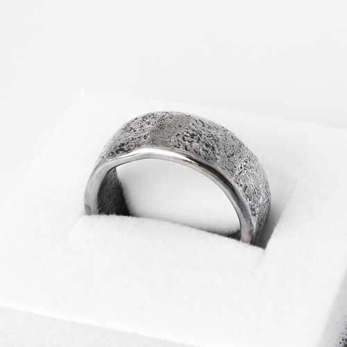 Ash infused wide silver band