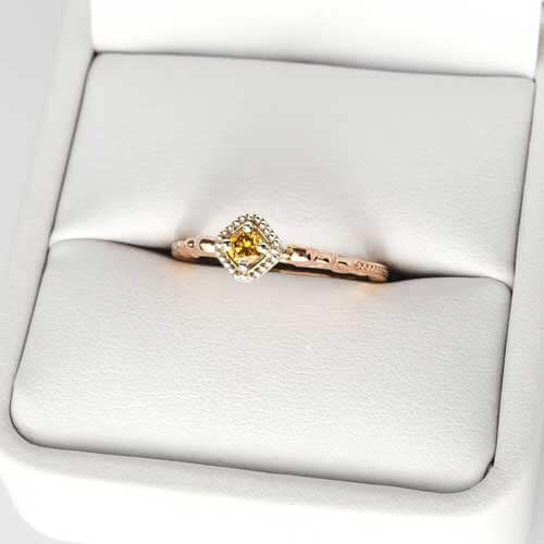 Memorial champagne gold set diamond ring in box