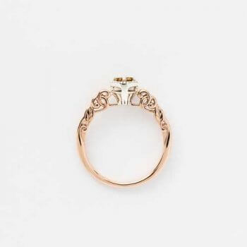 Memorial keepsake diamond ring champagne gold decorative mount