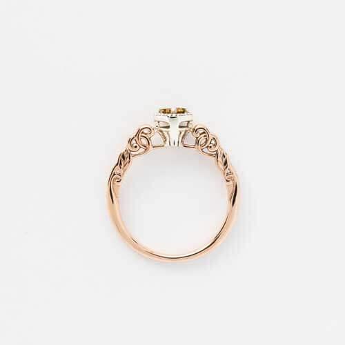 Memorial keepsake diamond ring champagne gold decorative mount