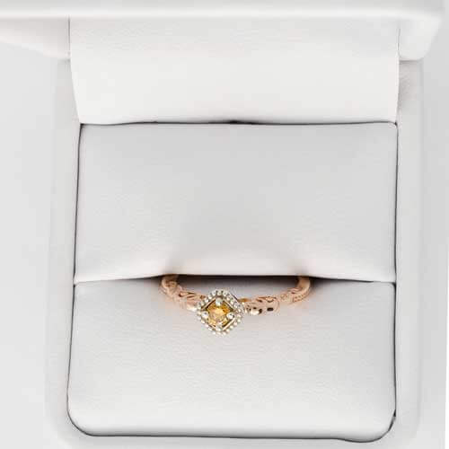 Memorial champagne gold set diamond ring